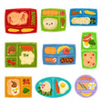 flat set of colorful lunch boxes with food vector image