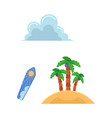 flat travelling beach vacation symbols icon vector image vector image