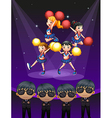 Four cheerdancers dancing with spotlights vector image vector image