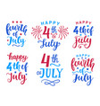 fourth july hand written ink lettering set vector image vector image