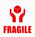 fragile icon handle with care logistics shipping vector image