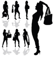 girl with bag silhouette vector image