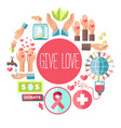 give love social charity poster for blood vector image vector image