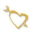 golden heart with an arrow vector image