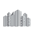 gray buildings and city scene line sticker vector image