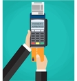 Hand pushing credit card in to pos terminal vector image vector image