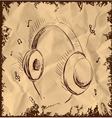 Headphones isolated on vintage background vector image vector image