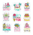 I love summer cute labels set relax summer time