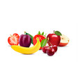 isolated on white background realistic fruit icons vector image vector image