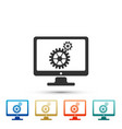 monitor and gears icon on white background vector image vector image