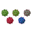 pixel virus particles in five colors vector image vector image
