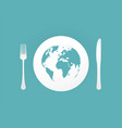 plate with cutlery and blue world map vector image vector image