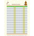 ramadan calendar schedule - fasting and prayer vector image