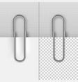 realistic metal paper clips on paper sheets set vector image vector image
