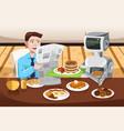 robot serving breakfast vector image vector image