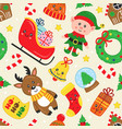seamless pattern with christmas fairy characters vector image