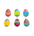 set of easter eggs colored with metallic paint vector image vector image