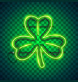 st patricks day clover neon sign dark vector image vector image