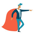 superhero or businessman in superman coat isolated vector image vector image