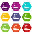 treadmill icons set 9 vector image