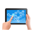 Two hands touch screen of tablet with medical vector image vector image