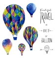 Watercolor card with hot air balloon Hand drawn vector image