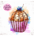 Watercolor sweet cupcake vector image
