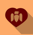 wings heart emblem in flat style in shadow vector image