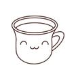 kawaii cup coffee break beverage thin line vector image