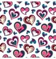 valentine seamless hearts pattern Hand drawn vector image