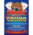 Template flyer for a casino on a blue background vector image