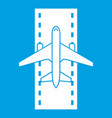 airplane on the runway icon white vector image
