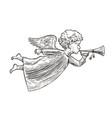 angel sketch hand drawn symbol vintage vector image vector image