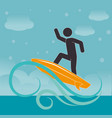 beach landscape with man surfing vector image vector image