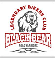 bear bikers club tee print design t-shirt vector image