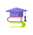 books and students cap set vector image