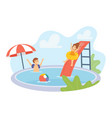 boy and girl characters in swimwear playing vector image vector image