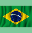 brazil realistic waving flag national country vector image vector image