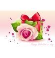 Card for Valentines Day pink rose with green box vector image vector image