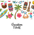 cartoon summer travel elements background vector image vector image
