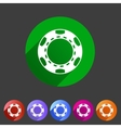 Casino chip icon flat web sign symbol logo label vector image