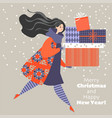 christmas card in cartoon style lovely girl vector image vector image