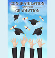congratulations graduation hand throw hat diploma vector image