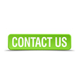 Contact us green 3d realistic square isolated vector image vector image