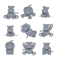 cute hippo set vector image vector image