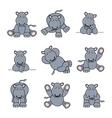 cute hippo set vector image vector image