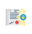 digital contract flat icon vector image