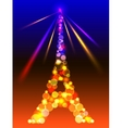Eiffel Tower in shiny blue and yellow lights and