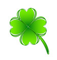 four leaf green clover hand draw lucky vector image vector image