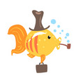funny cartoon golden fish in a hat with briefcase vector image vector image